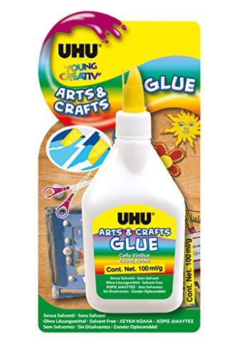 UHU Young Creativ, Colle créative, Colle de Bricolage Arts & Crafts, Flacon, 100 g, Transparent