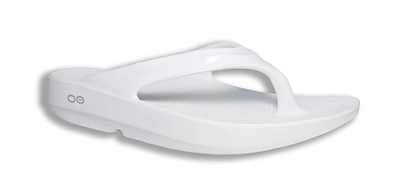 OOFOS - Women's OOlala - Post Run Sports Recovery Thong Sandal (5, White)