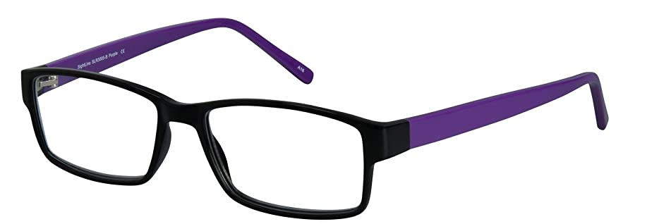 SightLine 3005 Fashion Readers. No-Line Trifocal Reading Glasses. Plastic Rectangular Frame with Anti Glare Coated Lenses (2.00, Purple)
