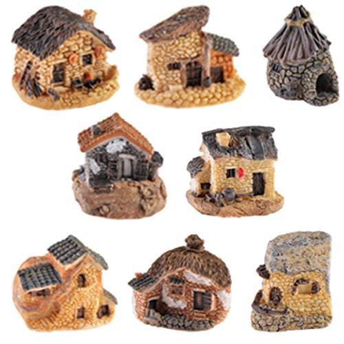 8 Stück Miniatur-Feengarten Stein Haus Ornamente, Miniatur-Haus Fairy Garden Steinhäuser Puppenhaus, DIY Zubehör Blumentopf Sukkulenten Deko Micro Landschaft