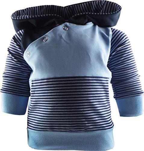 gestreiftes Baby/Kinder Kaputzen Langarm Hoodie Shirt mit Bauchtasche (Farbe blau-Marine/hellblau) (Größe 122/128)