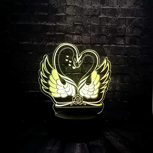3D lamp Romantische dubbele liefdesbak nachtlampje sfeerlicht tafellampen 7 kleuren varianten voor kinderkamerdecoratie en kindergeschenken