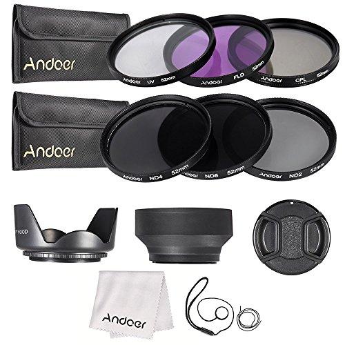 Sangmei 52 milímetros Lens Kit Filtro UV + CPL + FLD + ND (ND2 ND4 ND8) com Carry Pouch/Cap Lens Cap/suporte Lens/Tulip & Rubber Lens Hoods Pano/limpeza