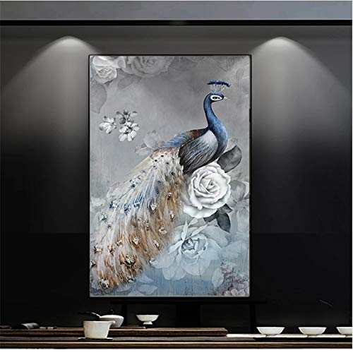 DIY 5D Diamond Painting Kits for Adults and Kids Full Drill Peacock Crysral Rhinestone Cross Stitch Embroidery Diamond Arts Craft for Home Wall Decor 20x40cm(8x16in)
