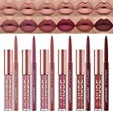 6 Matte Lipstick with 6 Lipliners Durable Lip Gloss Long-Lasting Non-Stick Cup Not Fade Waterproof High Pigmented Velvet Lipgloss Kit Beauty Cosmetics Makeup Gift for Girls(12PCS)