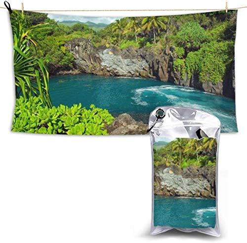 congminbai Strandtücher Hawaii Tropical Island Schnelltrocknendes Handtuch Decke Sandfreie Handtücher Saugfähig für Bath Travel Spa Swim