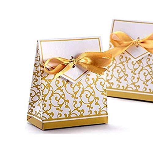 Anyasen 50 Stück gastgeschenke goldene Hochzeit Süßigkeiten Kasten Bonbons Geschenkschachtel Confetti Geschenkbox Klein Gastgeschenk mit Band für Hochzeit Geburtstag Weihnachten (Gold)