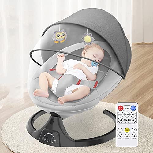 BABYNEED Sillas Mecedoras para Bebé Bluetooth, Hamaca Columpio Bebe Amplitud De Oscilación De 5 Marchas Y Tiempo Inteligente De 3 Marchas, balancin Bebe electrico, 0-24 Meses,Grey