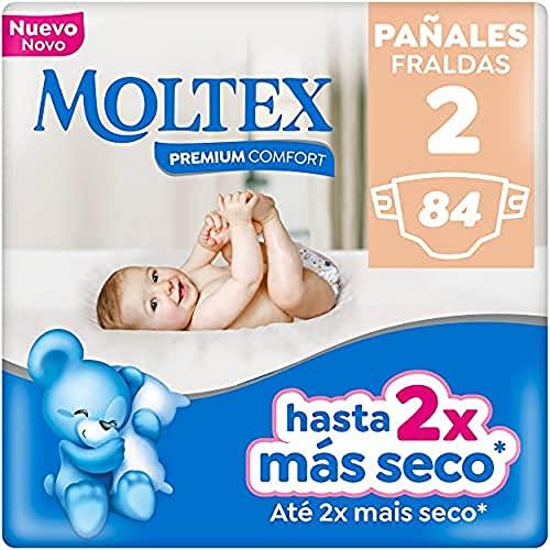 Moltex Premium Comfort Pañales Talla 2 (3-6 Kg) - Pañales, White, Talla 2, 84 Unidad