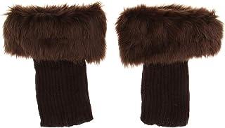 Prettyia Women's Fuzzy Fluffy Knit Boots Cuff Sleeves Fur Trim Toppers Leg Warmer