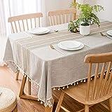 Aonewoe Tovaglia Rettangolare 140 x 200cm Decorazione Elegante Tovaglia in Lino di Cotone con Bordo in Nappa Copertura Lavabile Antipolvere per Tavolo da Cucina per Tavolo da Pranzo (Lino)