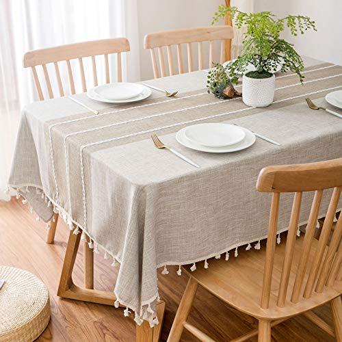 Aonewoe Rechteck Dekoration Tischdecke Baumwolle Leinen Elegante Tischdecke mit Quaste Edge Staubdichte waschbare Küchentischabdeckung für Speisetisch (Leinen, 140x200cm)