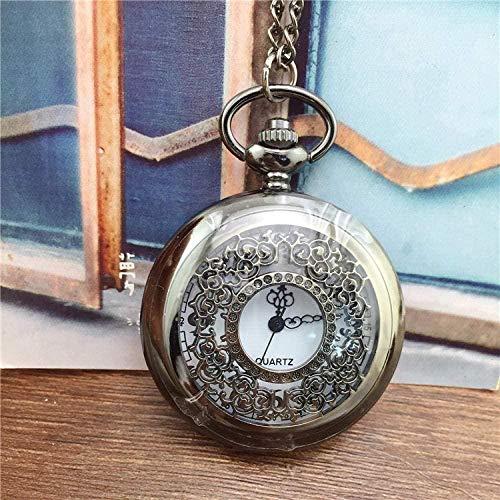 LLGG Reloj De Bolsillo De Cuarzo A Prueba De Agua,Reloj de Bolsillo con Solapa Pulido, Reloj de Bolsillo de Cuarzo Vintage-Negro,Reloj MéDico De Bolsillo Colgante