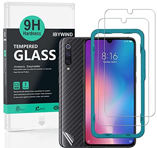 Ibywind ProtectordePantalla para Xiaomi Mi 9 / Mi 9 Pro 5G [2 Piezas],con Atrás Pegatina Protectora Fibra de Carbono,Incluyendo Kit de instalación fácil
