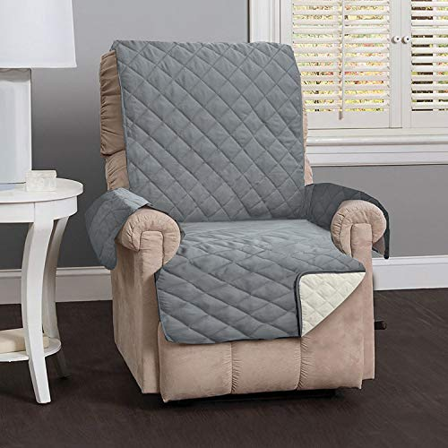 Deluxe Reversible Quilted Furniture Protector. Two Fresh Looks in One. By Home Fashion Designs Brand. (Recliner - Charcoal / Beige), 79'x65'