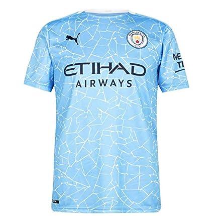 PUMA Manchester City Temporada 2020/21-HOME Shirt Replica SS with Sponsor Camiseta Primera Equipación, Unisex, Team Light Blue-Peacoat, S