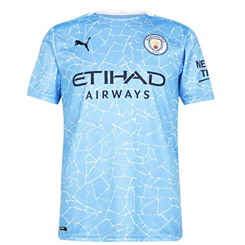 PUMA MCFC Home Shirt Replica SS with Sponsor Logo Camiseta, Hombre, Team Light Blue/Peacoat, S
