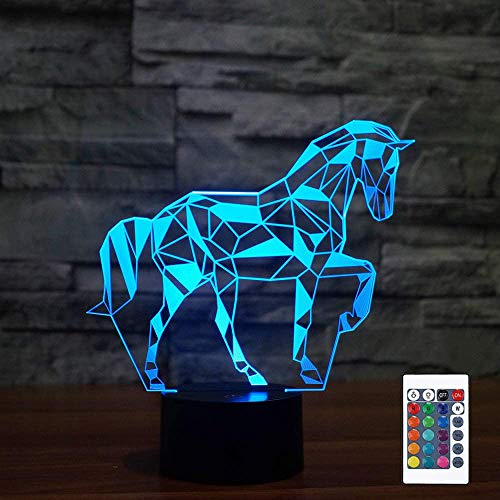 Night Lights for Kids Horse Illusion 3D Night Light Bedside Lamp 16 Colors Changing with Remote Control Best Birthday Gifts for Child Baby Boy and Girl