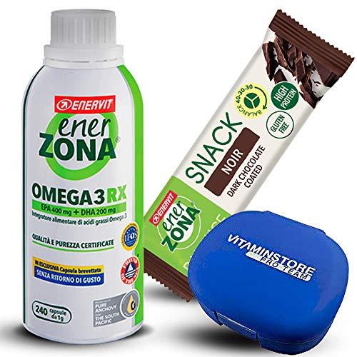 Enerzona Omega 3 RX 240cpr + 5 Bars Enerzona Snack Noir 33g + Pill Box