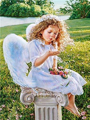 Malen Nach Zahlen Erwachsene Kinder,DIY Handgemalt Ölgemälde auf Leinwand Geschenk Malen Nach Zahlen Kits Home Haus Dekor neuen Jahres-Engel Mädchen-A-Rahmen