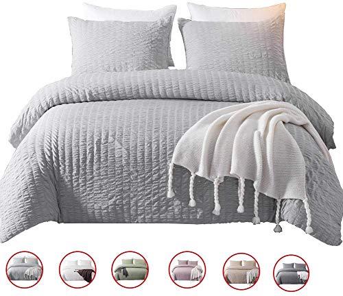 DuShow Gray Duvet Cover Set Twin Kids Seersucker Textured Hotel Quality Ultra Soft Bedding Set with Zipper Closure