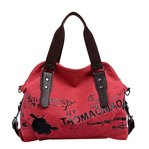 Lazzboy Bag Handtasche Mode Damen Large-Capacity Retro Stundent Messenger Bag(Rot)