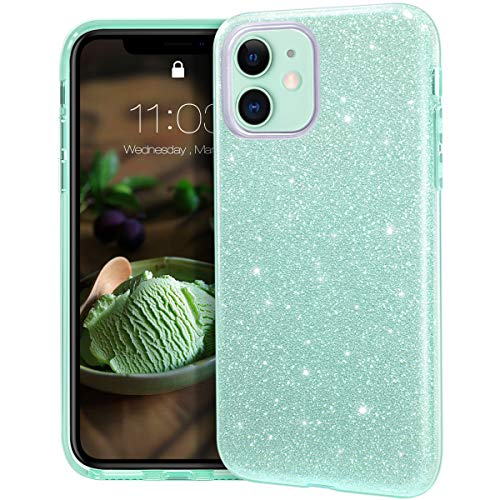 MATEPROX Funda iPhone 11,Glitter Estuche Brillante Antideslizante,Protector Cover para iPhone 11 6.1'-Verde