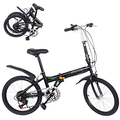 20 Inch Bike Folding Mini Bicycle 7 Speed Compact Bike for Students, Office Workers, Urban Environment and Commuting to Work (Black)