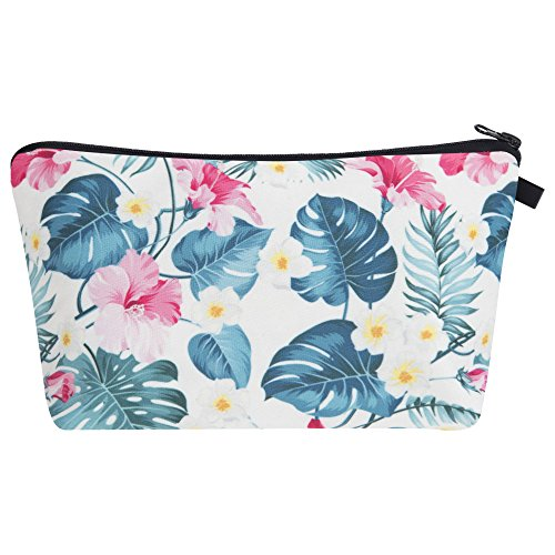 Kosmetiktasche Blumen Tropical Federmappe Mäppchen Kulturbeutel Damen Make Up Bag Reißverschluss Full Print