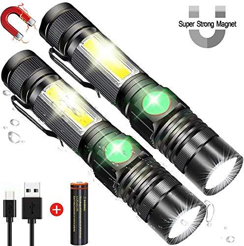 LED Taschenlampe Extrem Hell Wiederaufladbar Magnet Mini Taschenlampe Aufladbar Arbeitsleuchte Zoombar 18650 Akku Wiederaufladbar COB USB Taschenlampen Wasserdicht 4 Modi für Camping im Freien 2 PACK
