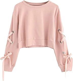 5d8636258104e Solike Sweatshirt Femme Sexy Sweats Col Rond Bandage Cropped Manteau Tops  Sweats Sweat-Shirt Blouse