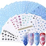 Fanjie 30 Sheets Christmas Nail Art Sticker Winter Xmas Snowflake Design Nail Decals Water Transfer Snowman Deer Pattern Accessories Manicure Women Girl Nail Decorations Kit New Year (1000+ Patterns)