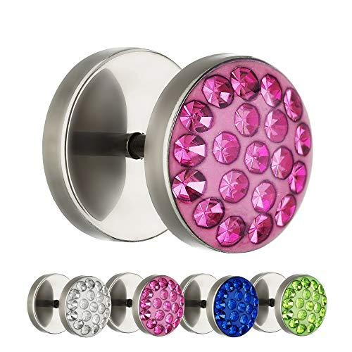 Treuheld® | 10mm Titan Fake Plug Ohrstecker | Silber | Rosa Glitzer - Kristalle | Fake Tunnel Ohrring mit Gewinde zum Schrauben | Damen + Herren
