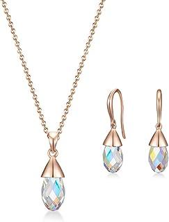 MESTIGE Women Crystal Rose Gold Aurora Boreale Set with Swarovski Crystals