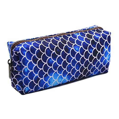 LParkin Mermaid Large Capacity Canvas Pencil Case Pen Bag Pouch Stationary Case Makeup Cosmetic Bag (Deep Blue)