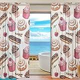 Happy Sheer Curtain Cortina de Ventana Retro Tulle para el hogar Dormitorio Sala de Estar Decoración Cortinas Postre Bun Cupcakes Chocolate 55x78 Pulgadas 2 Paneles Imprimir Semi Sheer