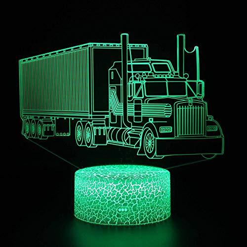 Lámpara de Noche de Ilusión óptica 3D LED de la carga USB del efecto creativo de la ilusión 3D con 7 colores Camión 2 Cracked base