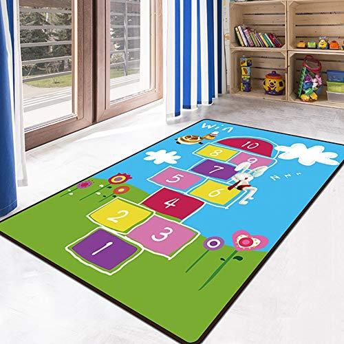 JTYX CARPETS Alfombra Infantil con Alfombrilla de educación numérica Alfombrilla para Gatear,Azul,160X230CM