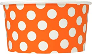 Orange Paper Ice Cream Cups - 6 oz Polka Dotty Dessert Bowls - Comes In Many Colors & Sizes! Frozen Dessert Supplies - 50 Count