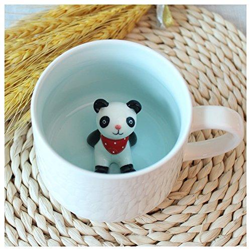 3D Cute Cartoon Miniature Animal Figurine Ceramics Coffee Cup - Baby Animal Inside, Best Office Cup & Birthday Gift (Panda)