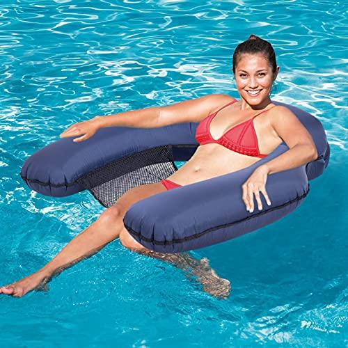Virtcooy Hamaca inflable, cama flotante para piscina, silla tumbona, hamaca de verano de natación hinchable para adultos y niños, ligera e hinchable, rápida en 3 segundos