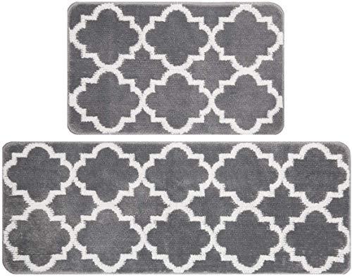 Pauwer - Juego de 2 alfombras y tapetes extralargos para Cocina, Antideslizantes, duraderos, para Interiores y Exteriores, para Entrada, Cocina, Dormitorio (45x75+45x120cm, Gris)