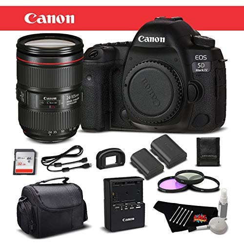 Why Choose Canon EOS 5D Mark IV Digital SLR Camera with 24-105mm f/4L II Lens Bundle with 32GB Memor...