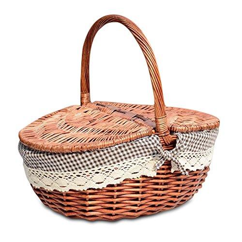 Wicker gefüttert Picknickkorb mit Deckel und Griff natürliche Weide gewebt Einkaufscamping Speicherkorb Korb klassischen Vintage Landhausstil - klein