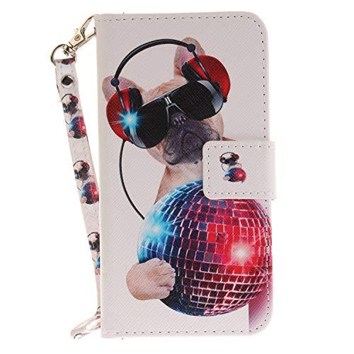 ISAKEN Compatibile con Samsung Galaxy J5 2016 Custodia, Bookstyle Wallet Cover Flip Portafoglio Anti Slip Case Antiurto in Pelle PU con Supporto di Stand/Strap/Carte Slot/Chiusura - Cane di Moda