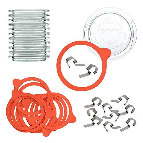 MamboCat Set d'accessoires Weck 48 pièces | 12 couvercles en verre + 12 anneaux + 24 pinces pour bocaux à bord rond RR80 + livret de recettes | Conservation et conservation