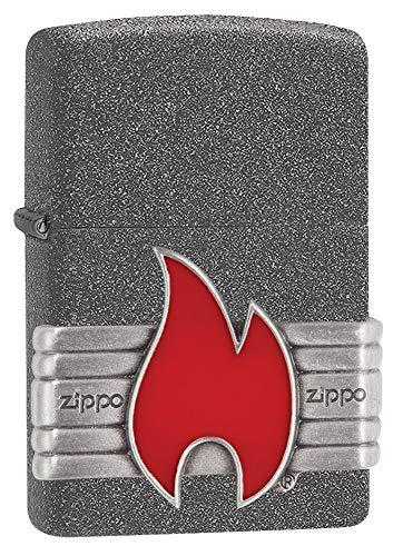 Zippo Red Vintage Wrap, Accendino Antivento Unisex-Adulto, Pietra di Ferro, Standard