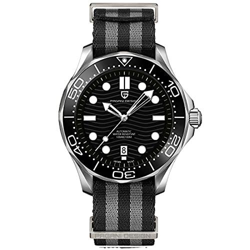 Pagani Design Seamaster Homage - Reloj de Buceo automático para Hombre, Acero Inoxidable Completo, Bisel de cerámica, Espejo de Zafiro, 100 m Impermeable (Negro 1685N)