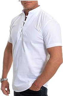 Mens Grandad Henley Short Sleeve T Shirts Lightweight Collarless Shirts Button Tops Summer Breathable Tee for Lounge Work ...