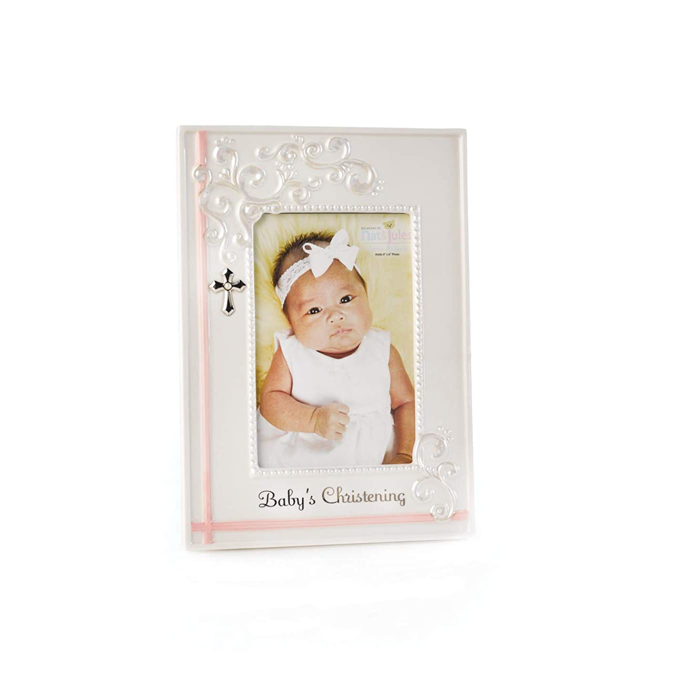 DEMDACO Pink Baby's Christening 6.75 x 9.5 Porcelain Picture Frame